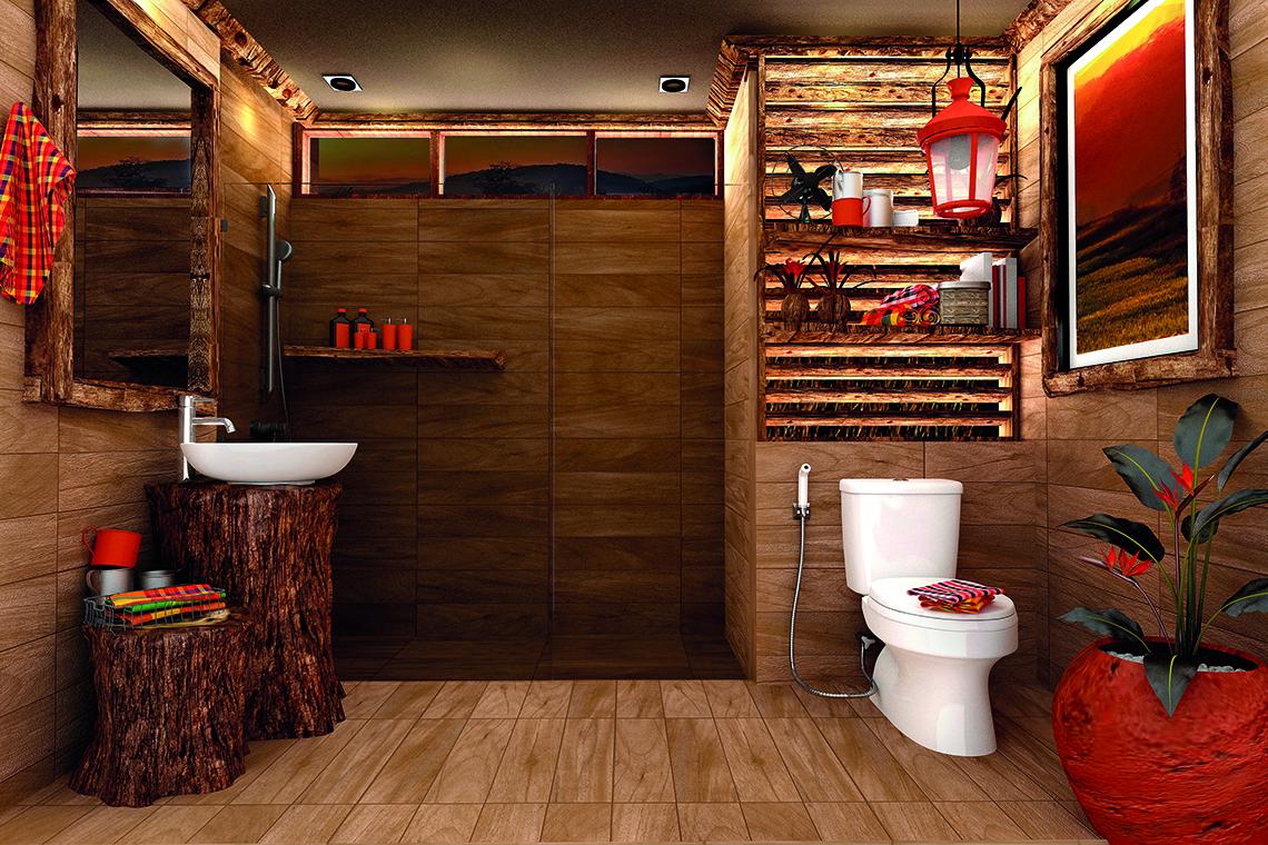 ห้องน้ำลายไม้ ลวดลายธรรมชาติ ไอเดียแต่งห้องน้ำสวย