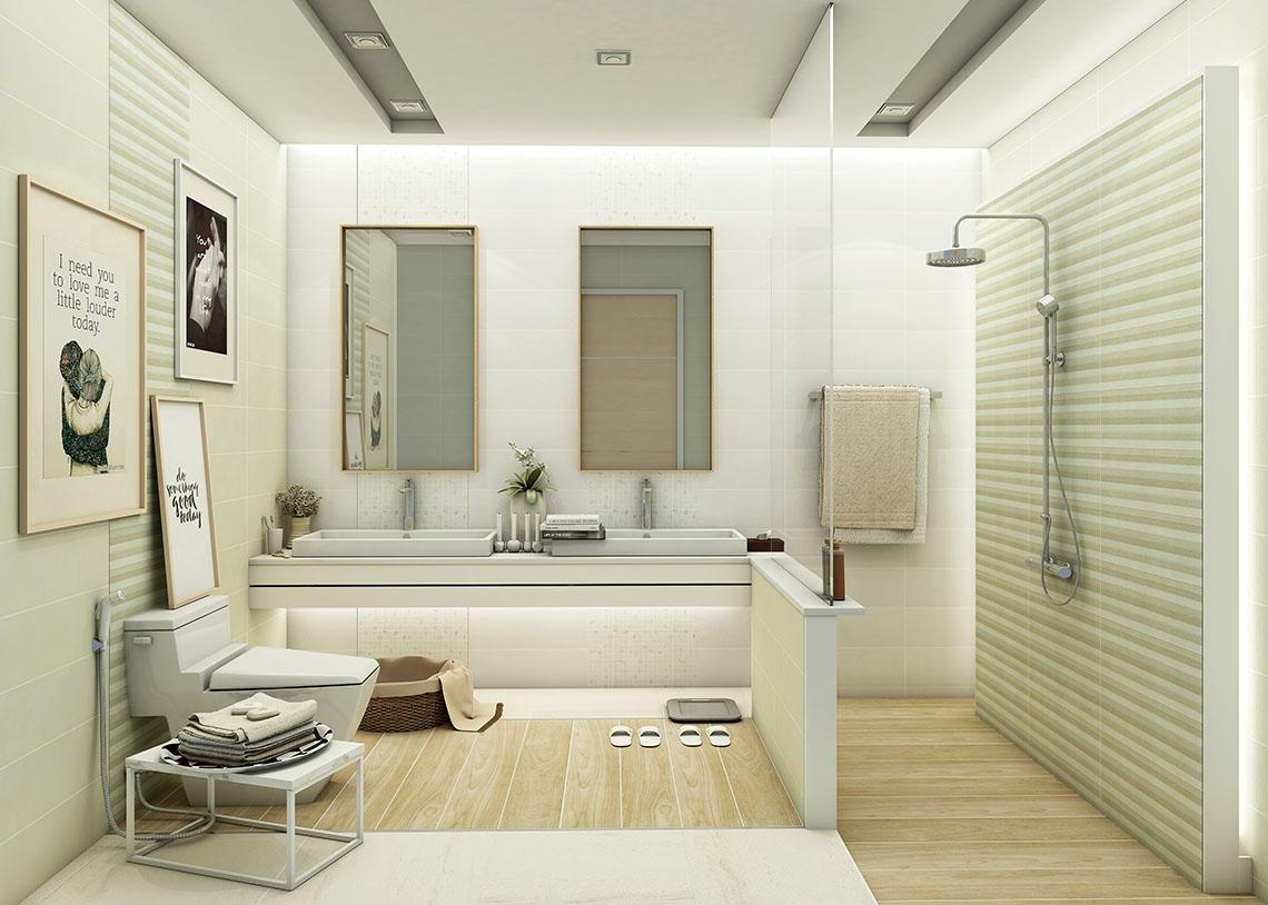 ไอเดียห้องน้ำ โทนสีเบจ ให้ความรู้สึกอบอุ่น