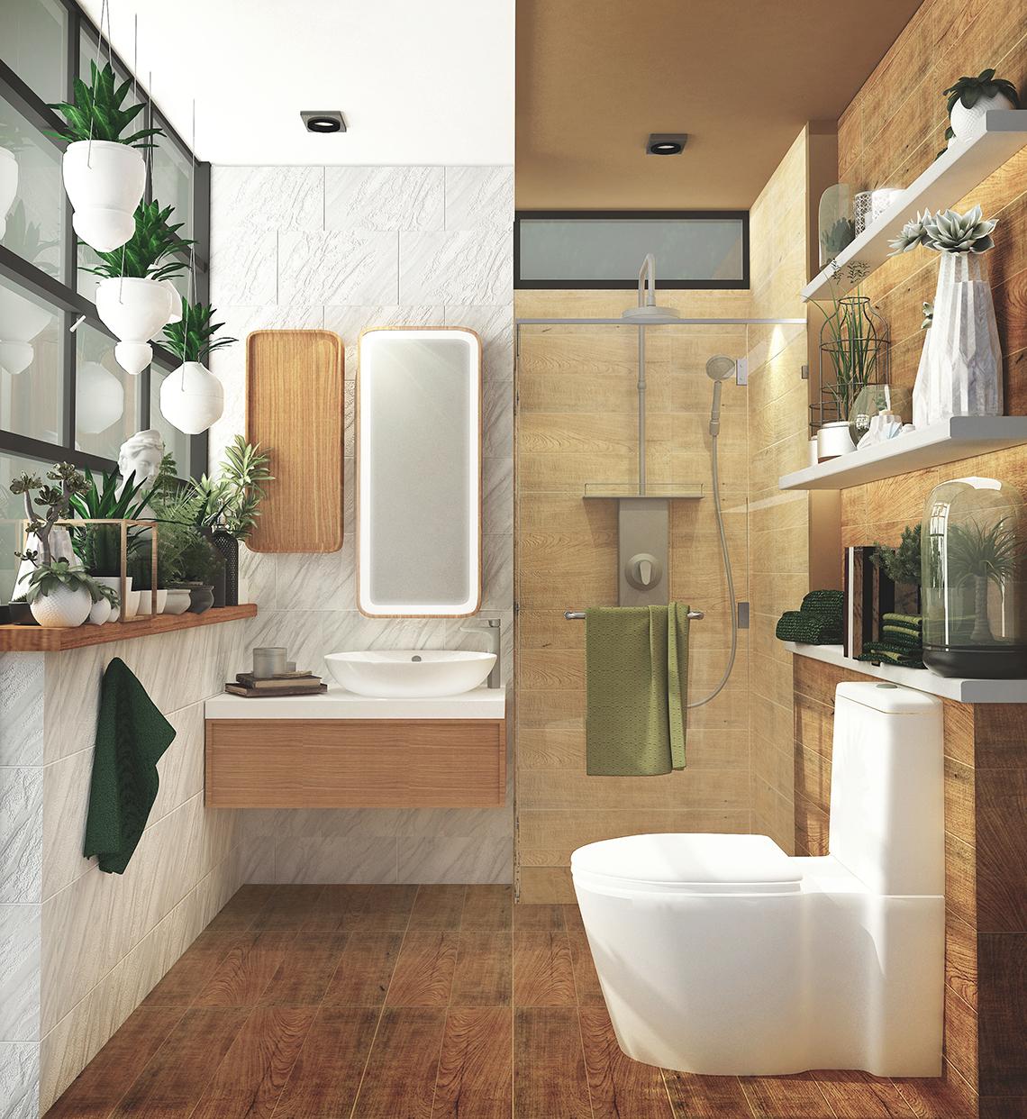 ตัวอย่างห้องน้ำ ลวดลายธรรมชาติ
