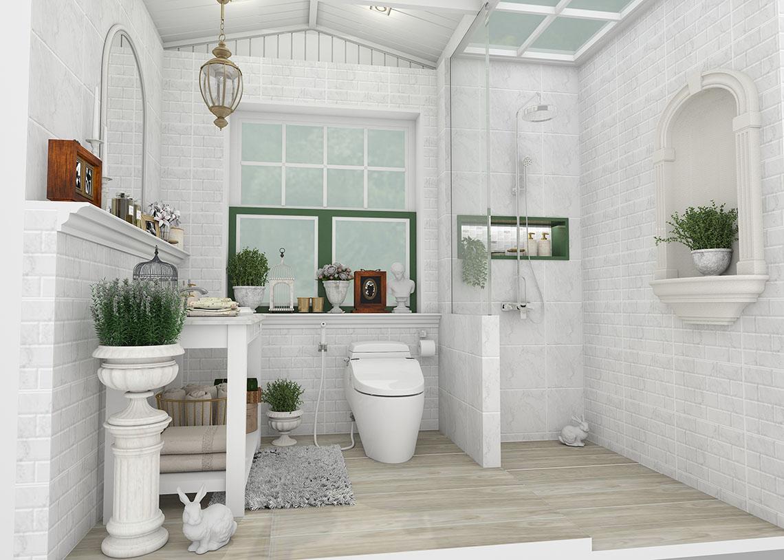 รูปแบบห้องน้ำ ลายหินอ่อนโทนสีขาว ที่ให้ความรู้สึกราวกับอยู่ในสวนสไตล์อังกฤษ