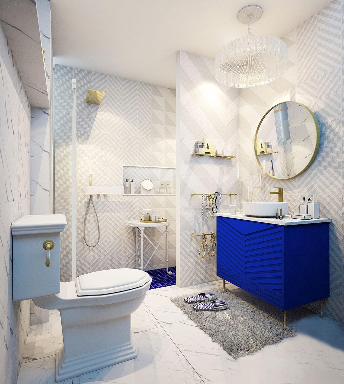 แบบห้องน้ำ โทนสีขาว ลวดลายกราฟฟิค เรียบหรูสะดุดตา