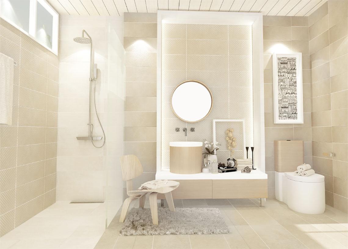 แต่งห้องน้ำสวยสไตล์โมเดิร์น ด้วยหิน Crema Marfil