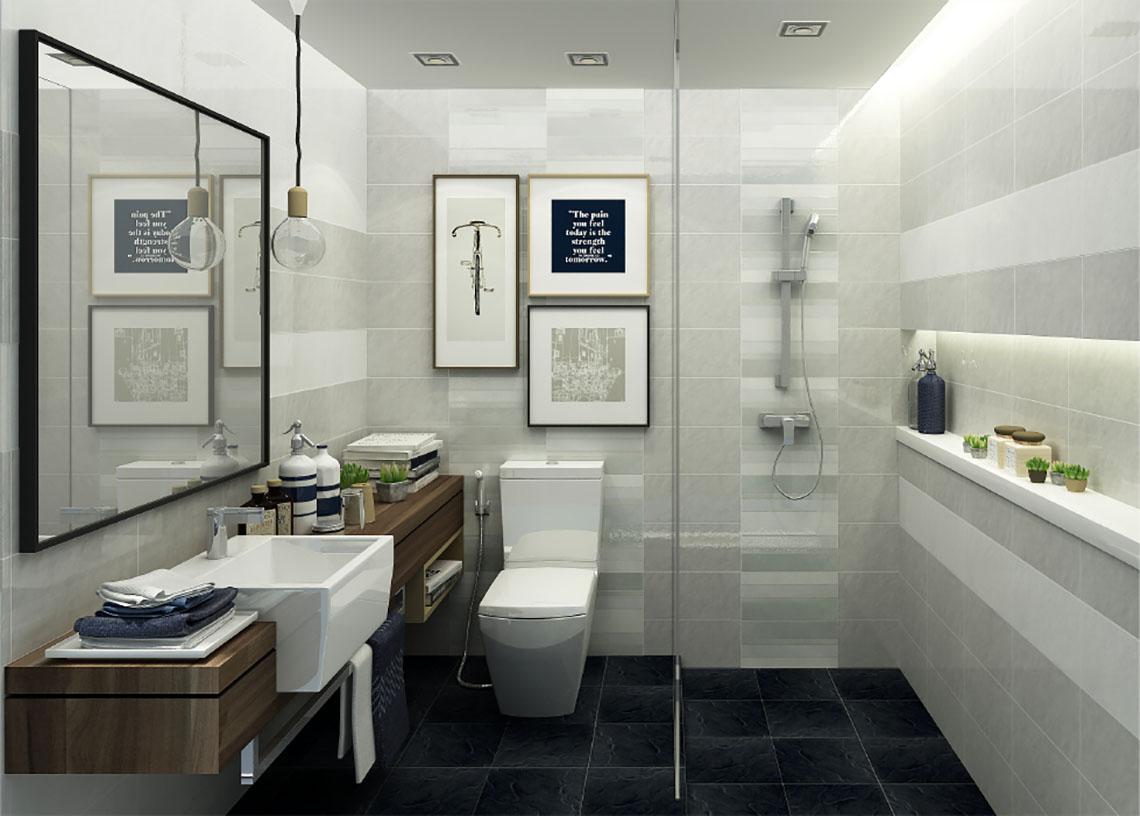 แบบห้องน้ำโมเดิร์น โทนสีอบอุ่นดูคลาสสิก