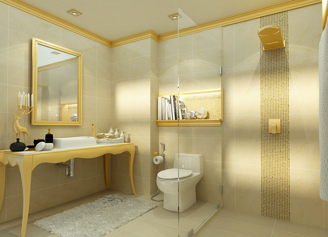 ห้องน้ำสวย ลวดลายหินอ่อน และกระเบื้องโมเสก