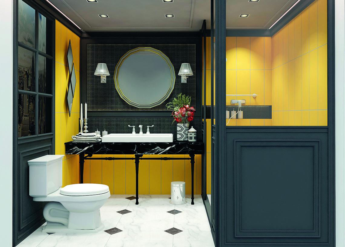ไอเดียห้องน้ำ โทนสีเหลือง สไตล์ผู้หญิงสง่างาม แบบ Elegant