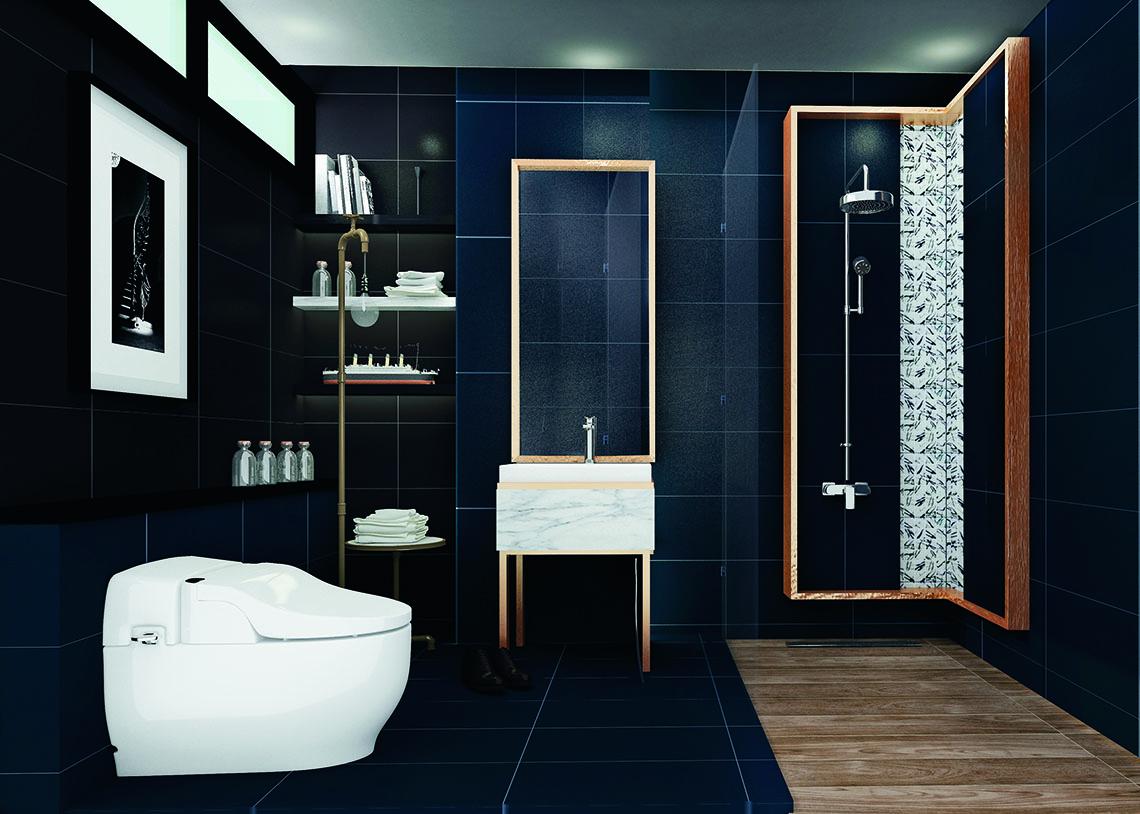 ห้องน้ำ รูปแบบ Luxury สไตล์ Modern ในแบบห้องน้ำโทนสีเข้ม