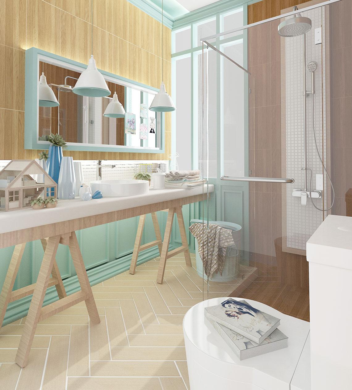 ห้องน้ำ โทนสีพาสเทล สไตล์อ่อนหวาน