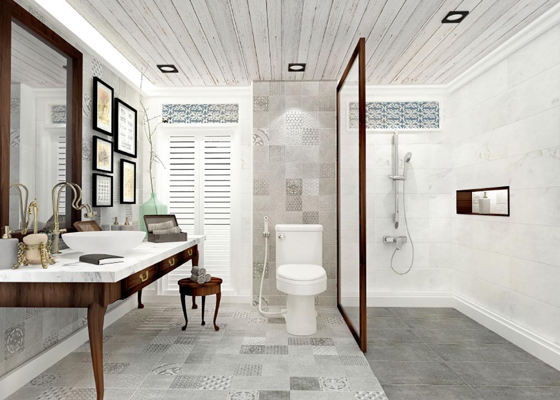 รูป ห้องน้ำ ลวดลายหินธรรมชาติ สไตล์ Momento