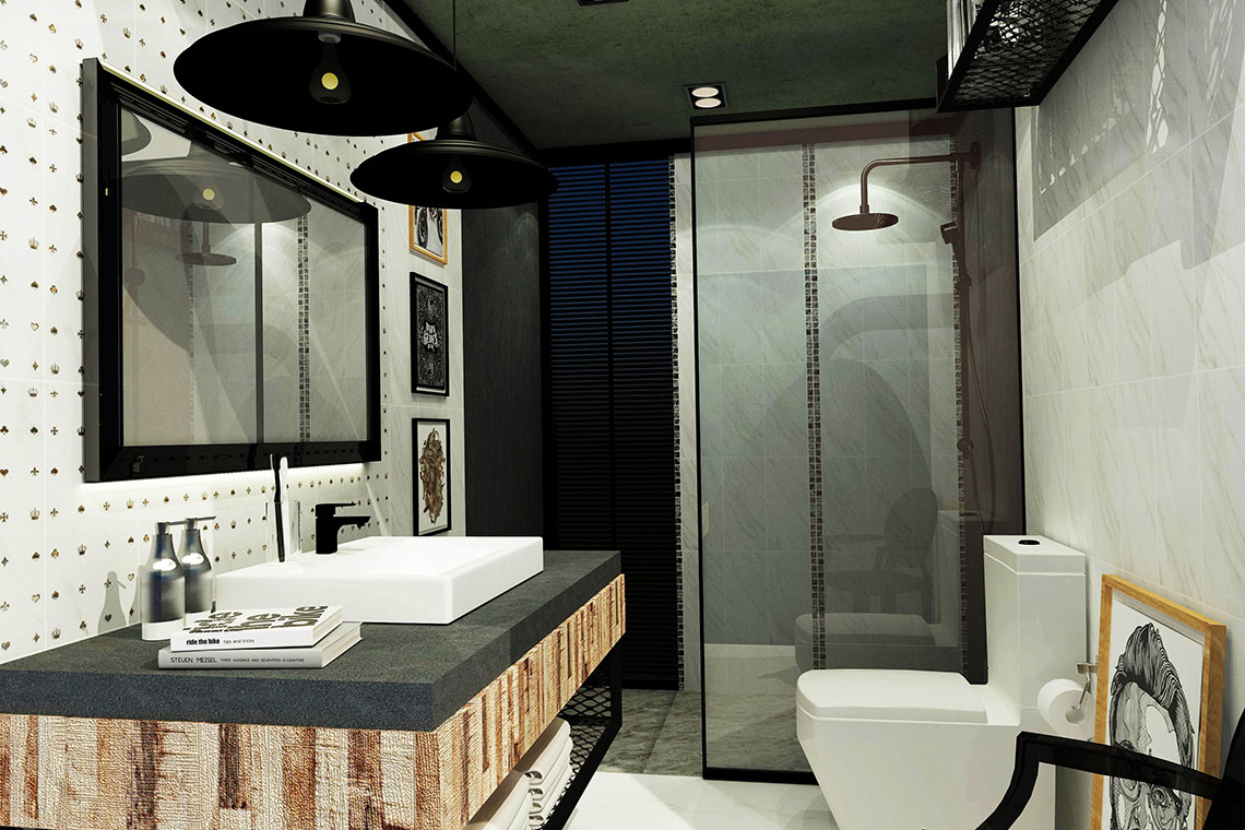 รูปห้องน้ำ สไตล์ American Hipster ลวดลายหินอ่อน ดูน่าค้นหา