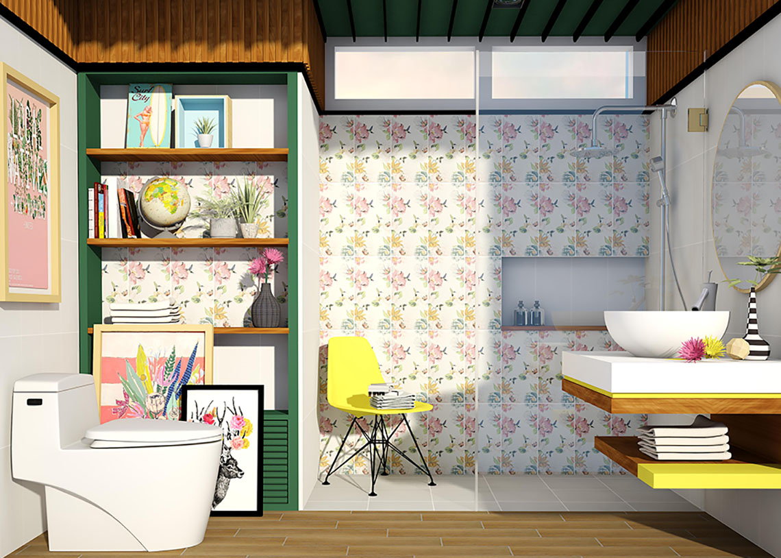 รูป ห้องน้ำ ลายดอกไม้ ไตล์ธรรมชาติ ให้ความรู้สึกสดชื่น