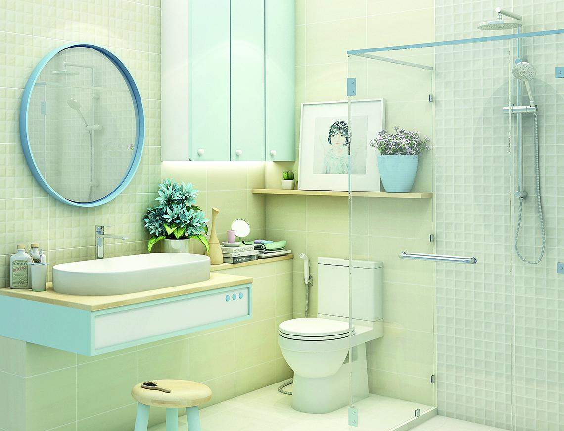 ภาพแบบห้องน้ำ Pure City ในโทนสีอบอุ่น