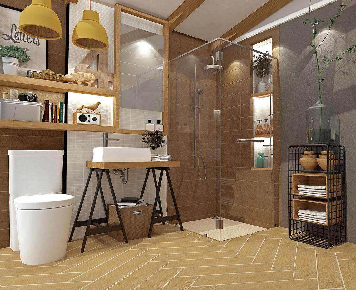 รูป ห้องน้ำ ลวดลายไม้ เสน่ห์ธรรมชาติของไม้โอ๊ค